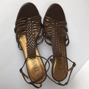 Franco Sarto Brown Braided leather heels size 8.5M